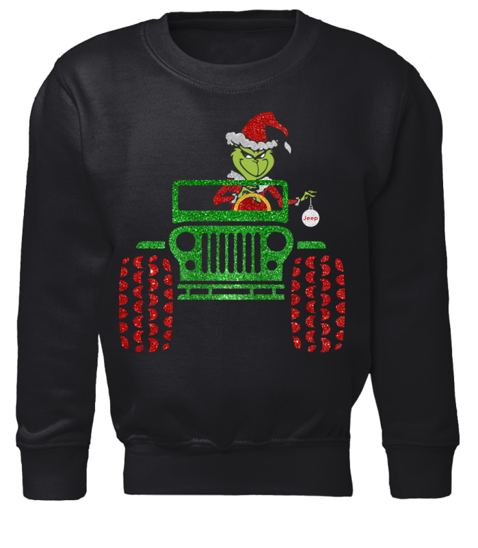 The Grinch driving jeep Christmas sweater