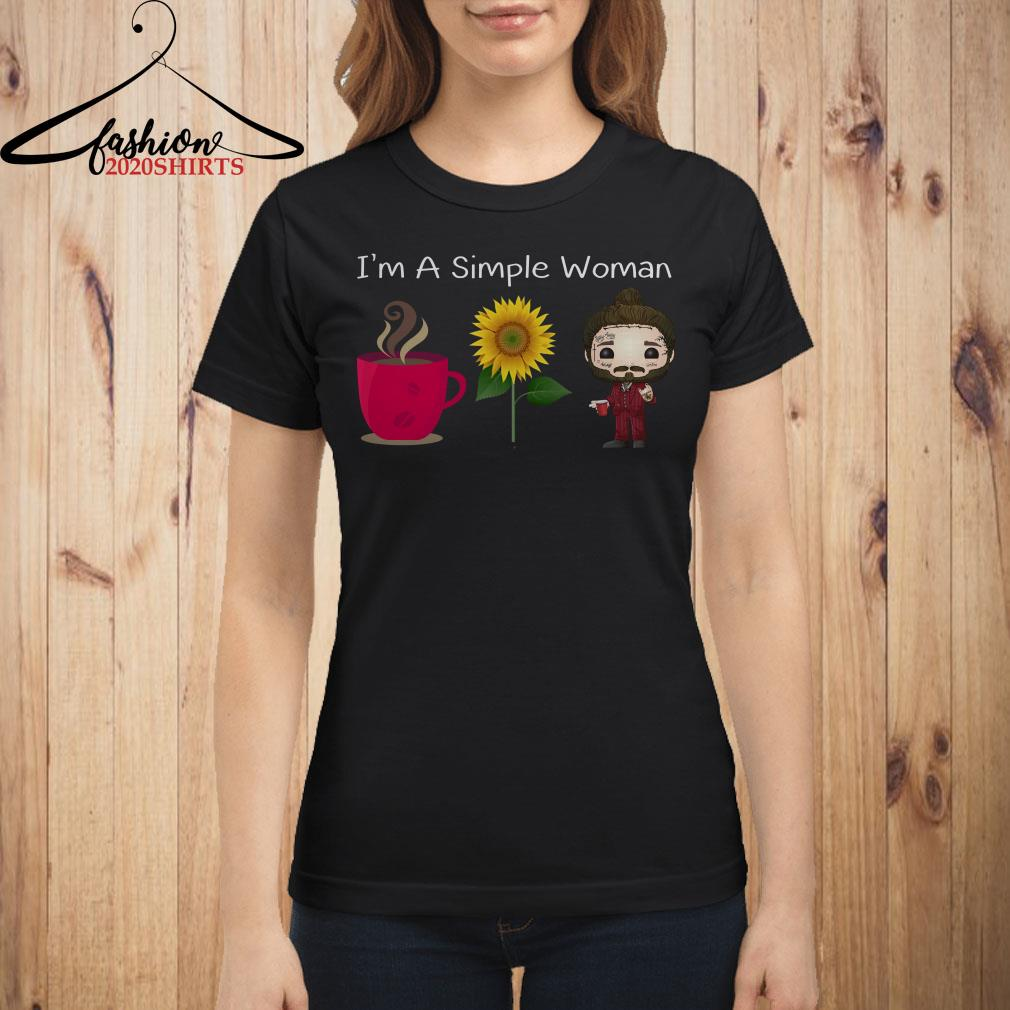 I'm a simple woman I love coffee sunflower and post malone shirt
