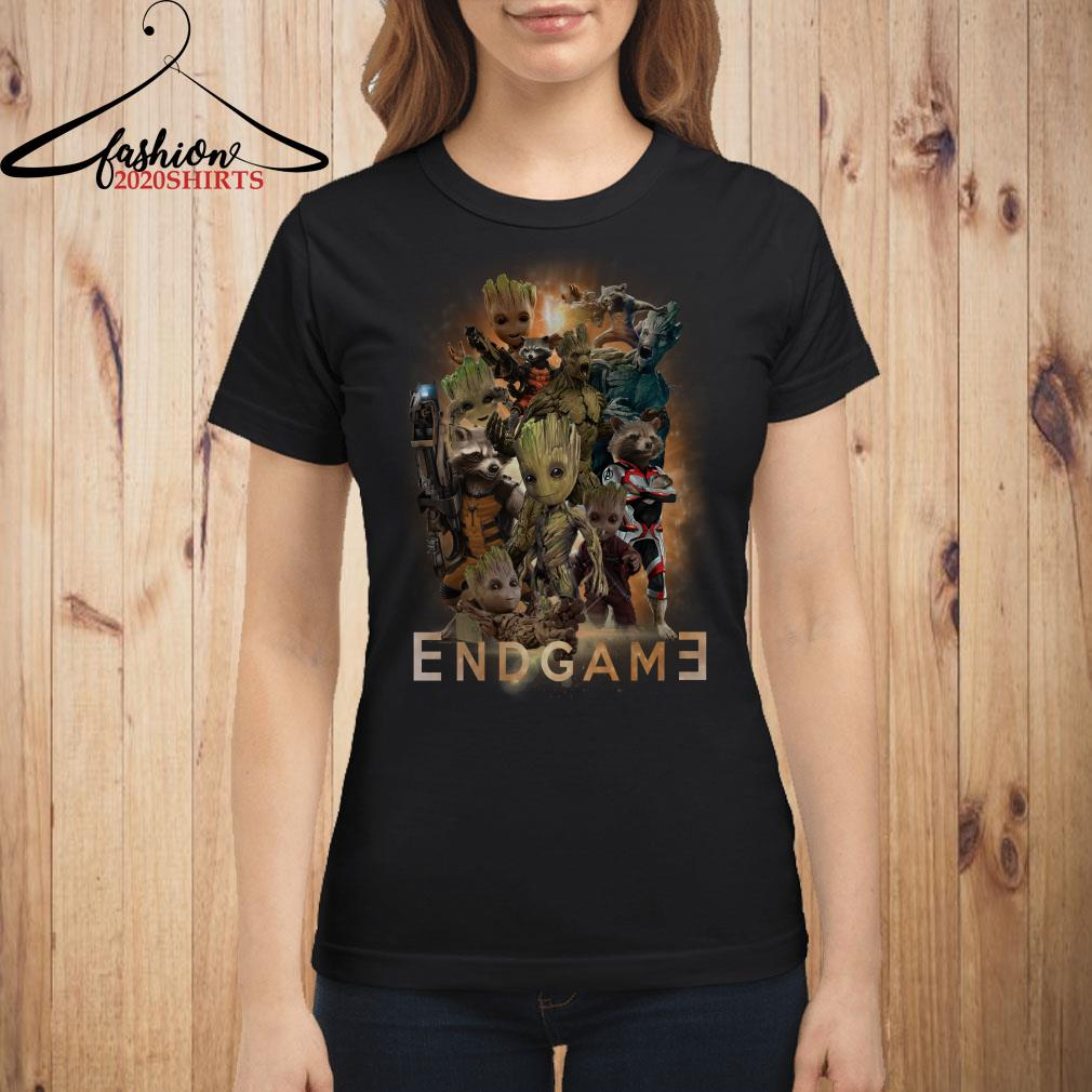 Marvel guardians of the galaxy Groot and Rocket raccoon Endgame poster shirt