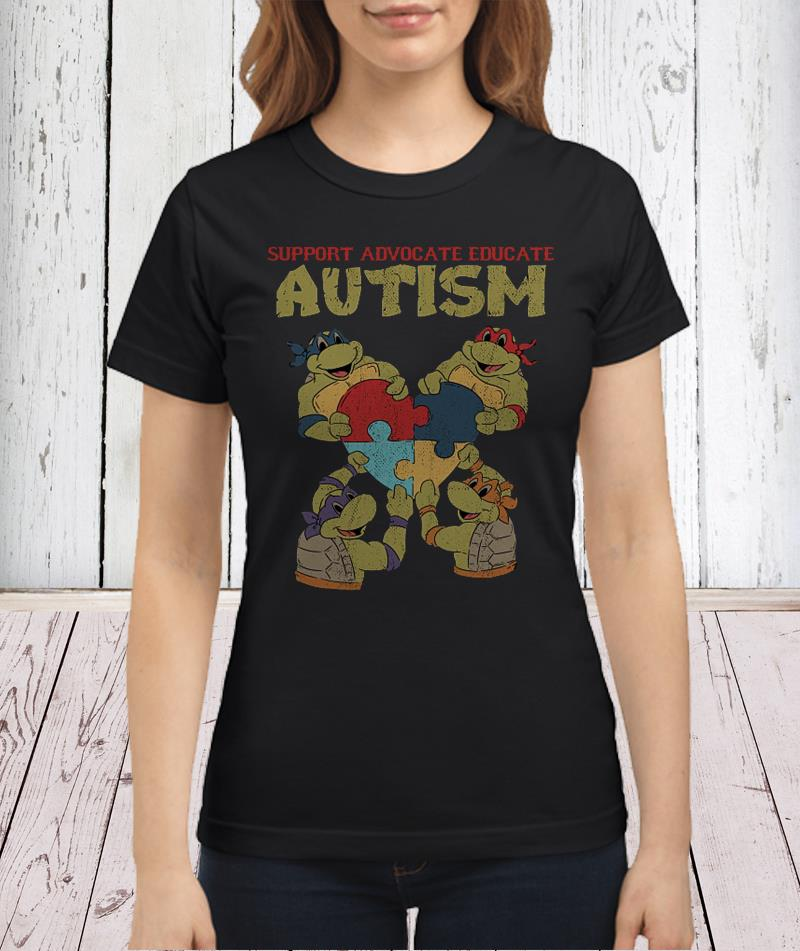 Ninja turtle support advocate educate autism shirt