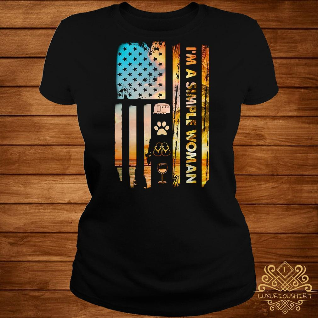 America flag I'm a simple woman I like camp paw dog flip flop and wine shirt