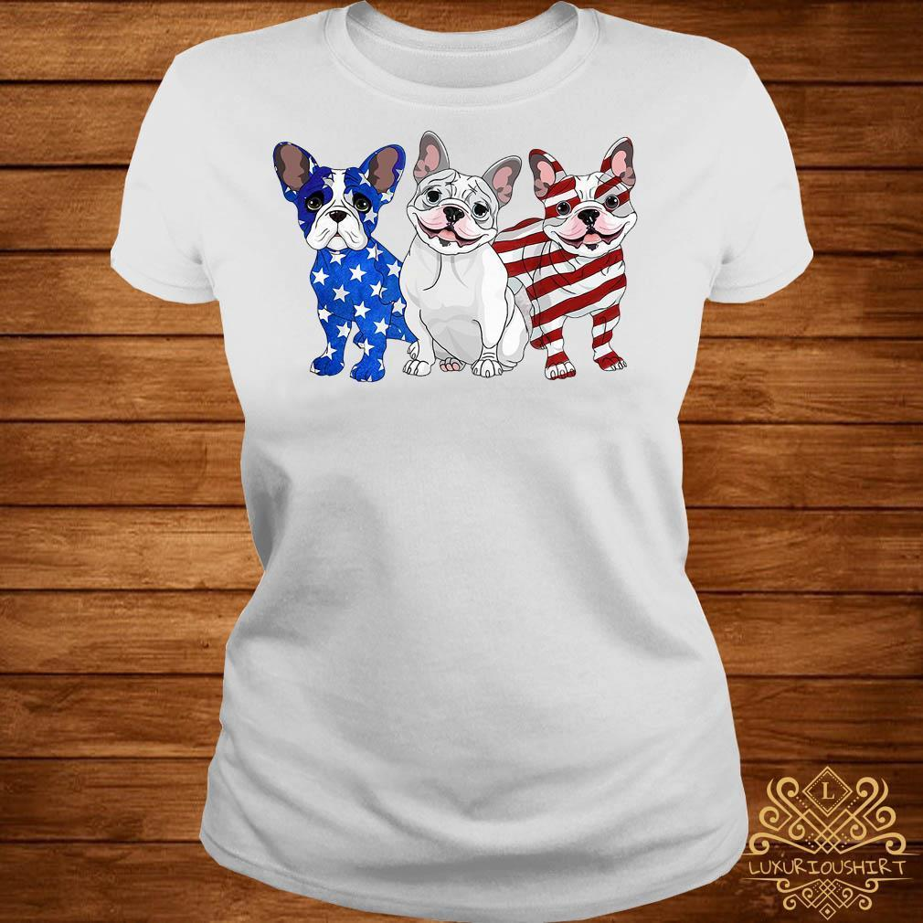 French Bulldog beauty red white and blue American flag shirt