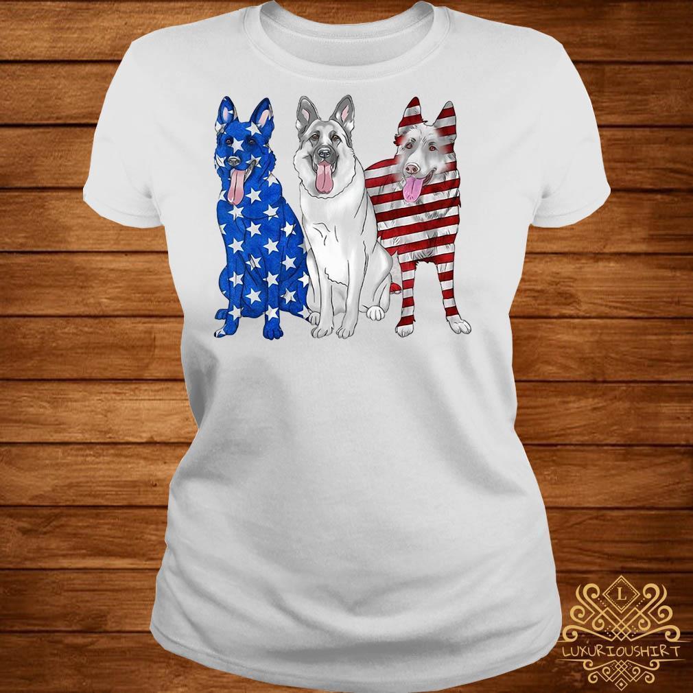 German Shepherd blue white red American flag shirt