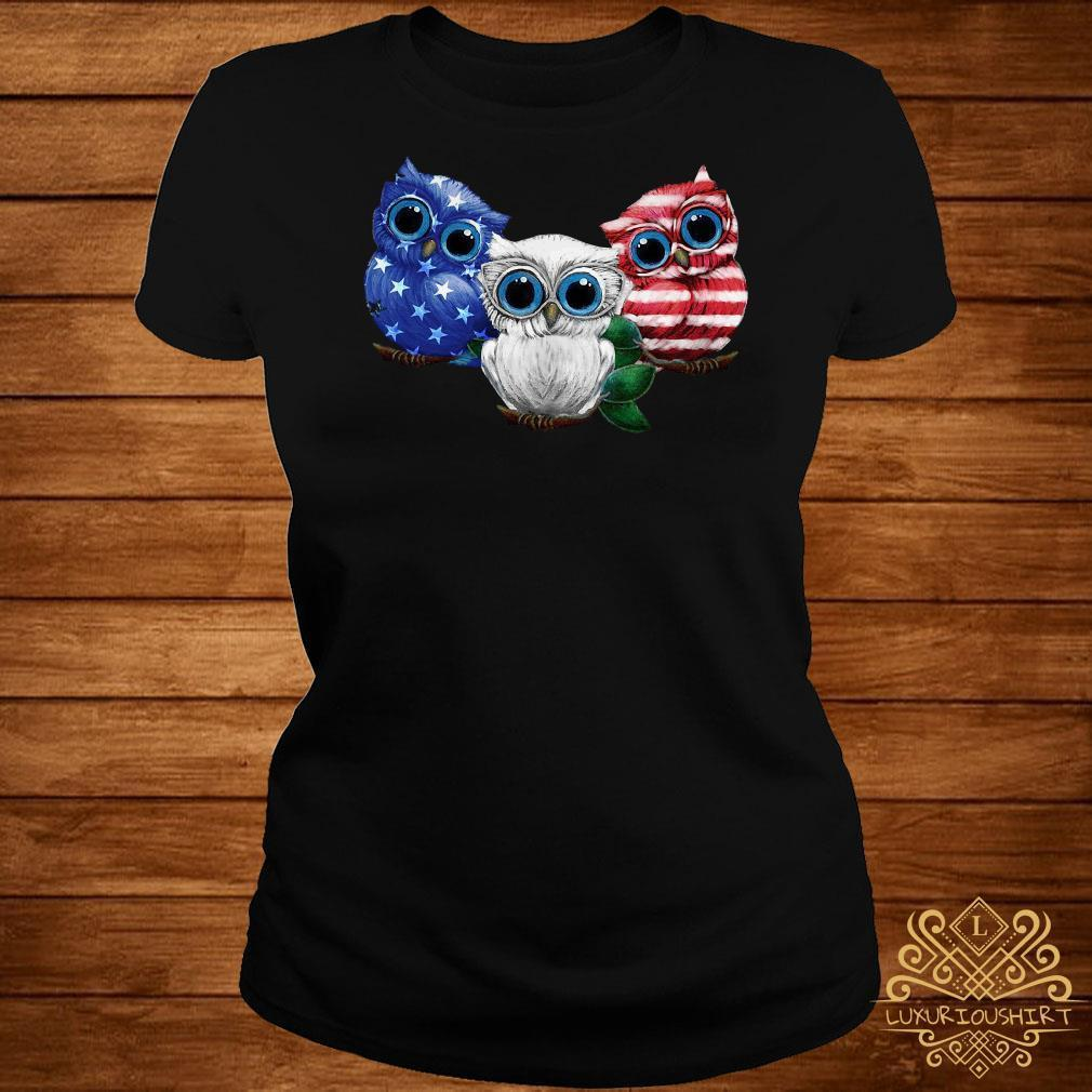 Owl blue white red American flag shirt