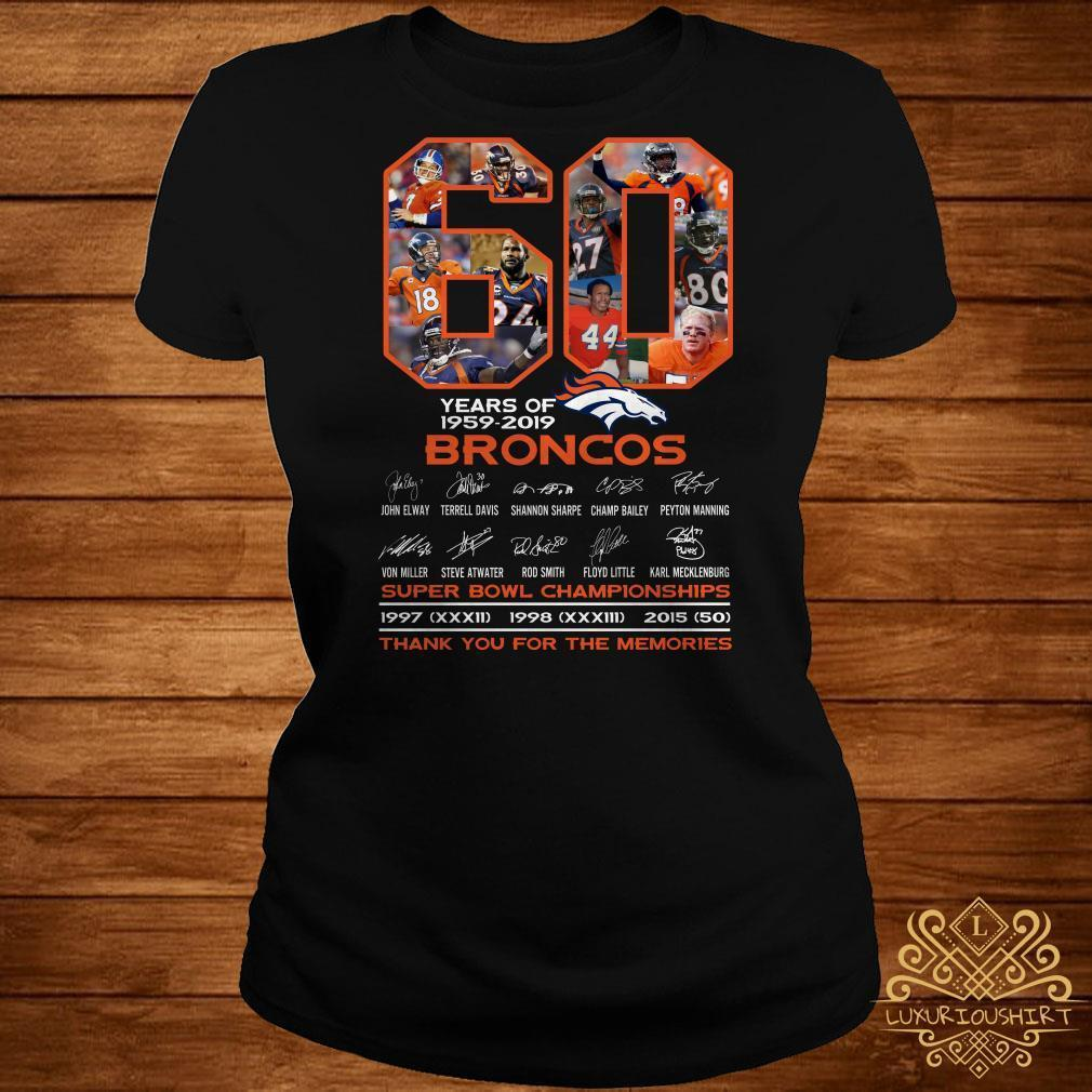 60 years of 1959-2019 Broncos super bowl Championships thank you for the memories shirt
