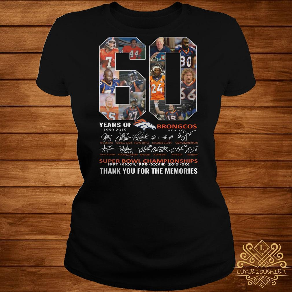 60 years of Broncos thank you for the memories signature shirt