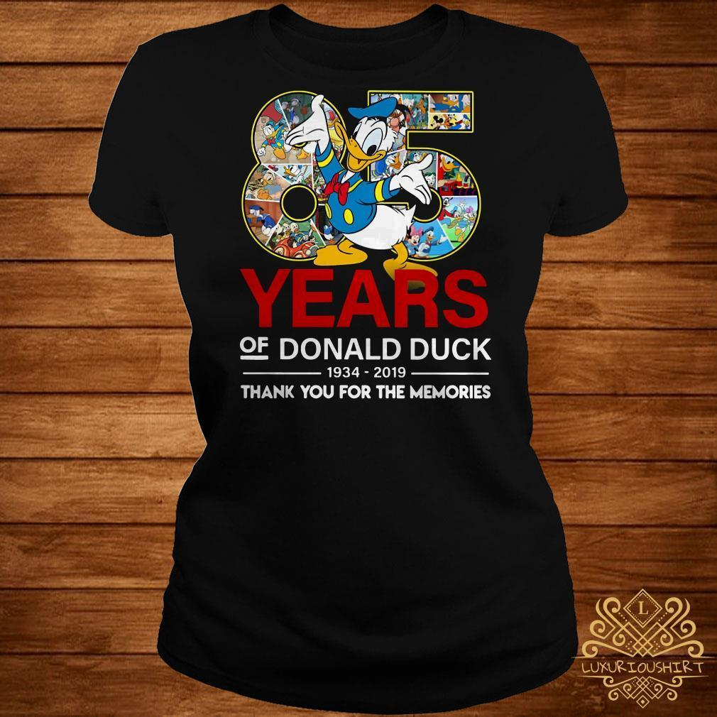 85 years of Donald duck 1934-2019 thank you for the memories shirt