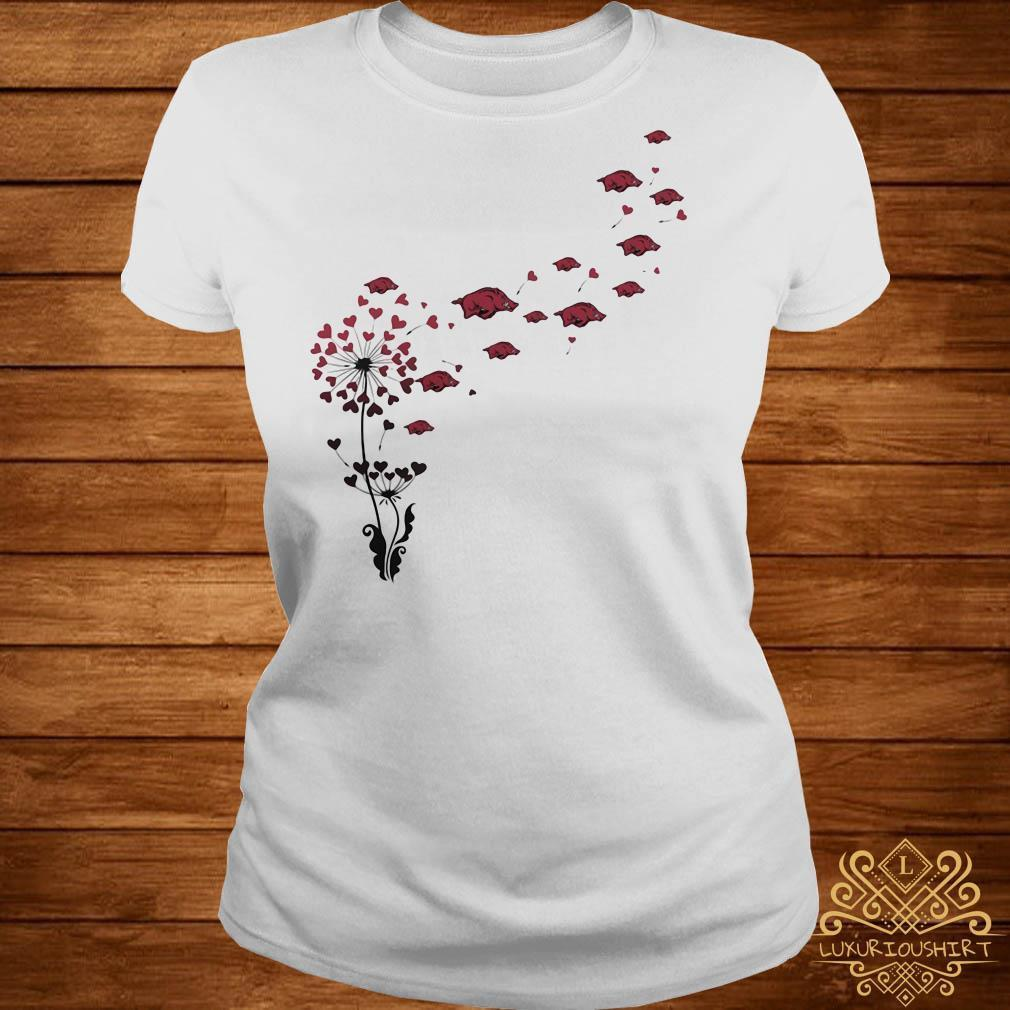Dandelion heart flowers with boar petal shirt