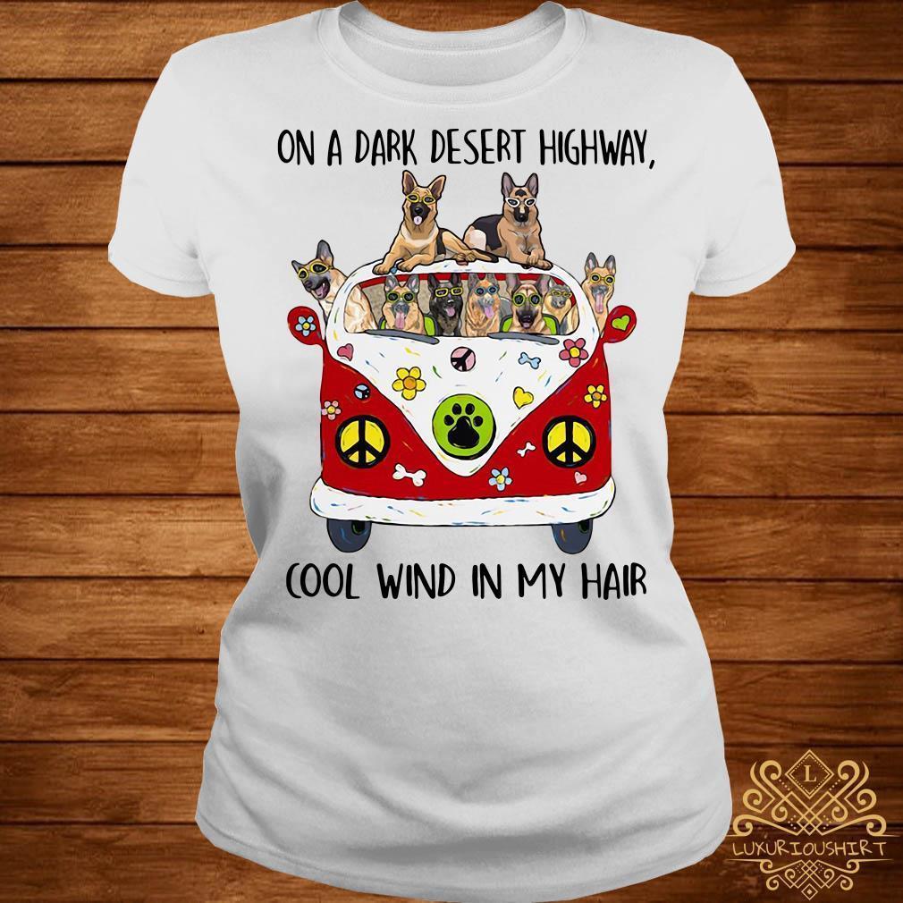 German Shepherd on a dark desert highway cool wind in my hair shirt