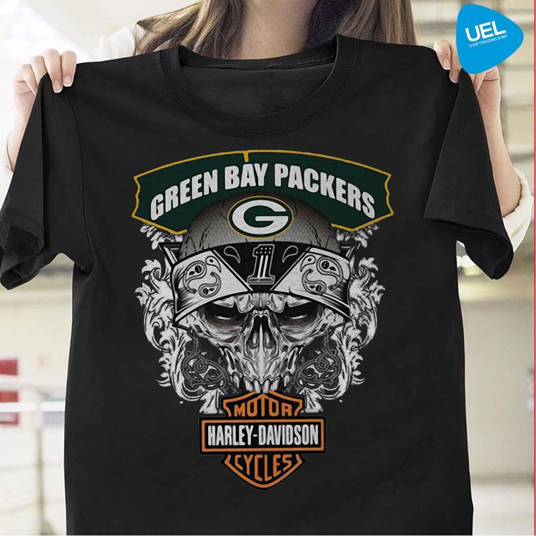 Green Bay Packers Harley Davidson motorcycles shirt