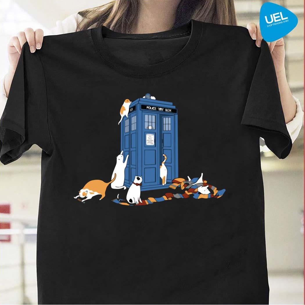 Tardis cats around police box doctor who shirt