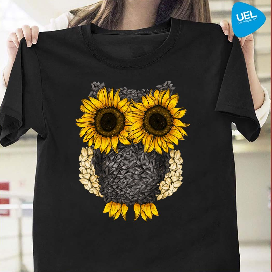 Owl by sunflower and seed shirt