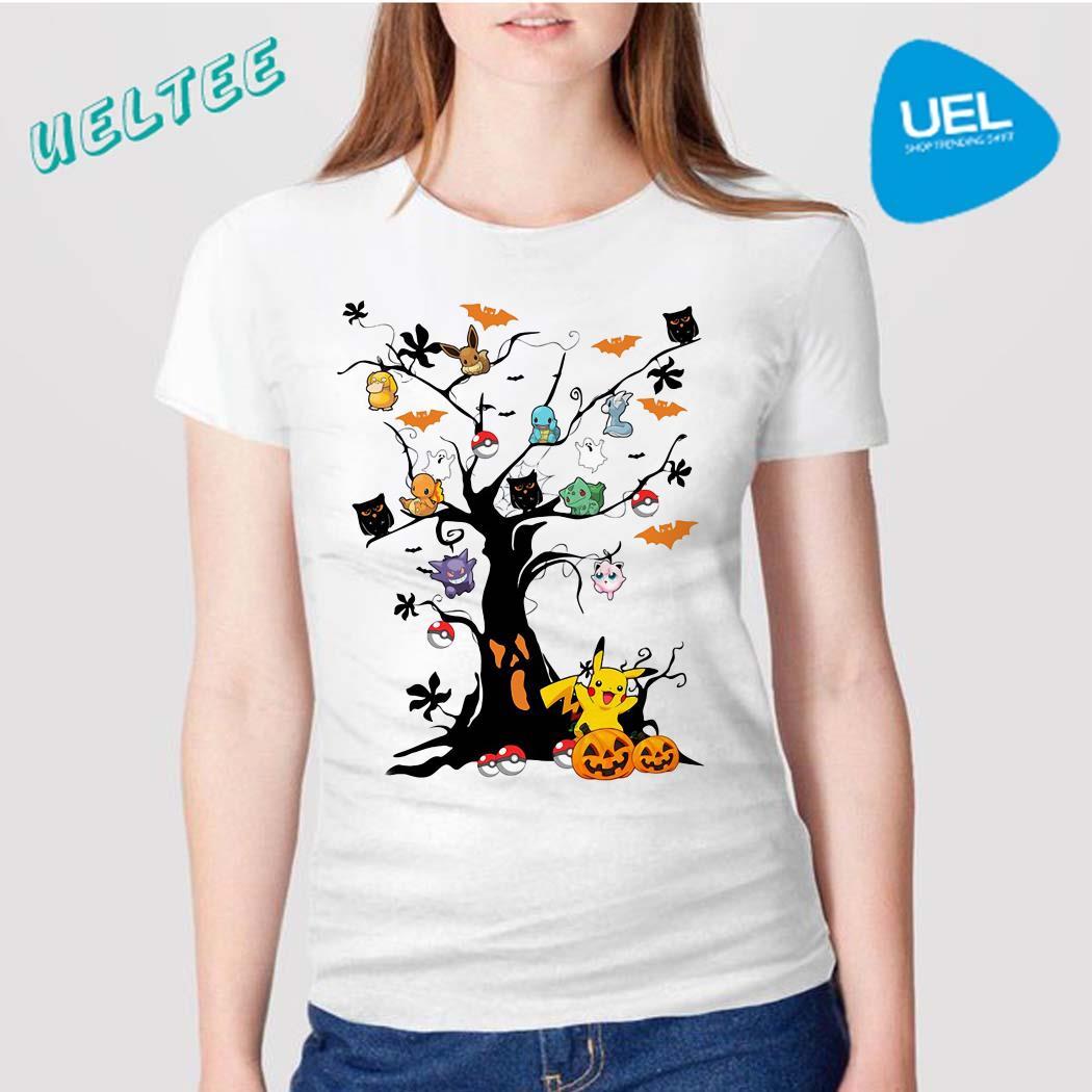 Pokemon character on the tree Halloween shirt