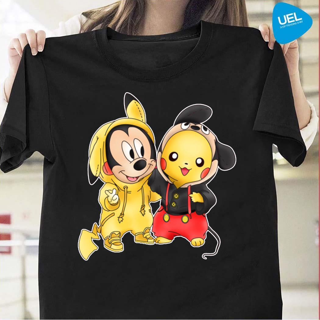 Pikachu Pokemon Mickey mouse crossover shirt
