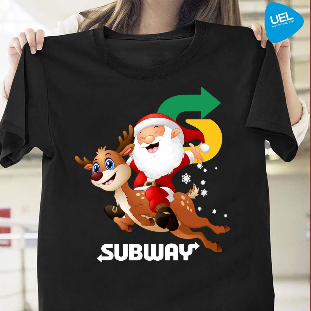 Santa Claus riding reindeer Subway shirt