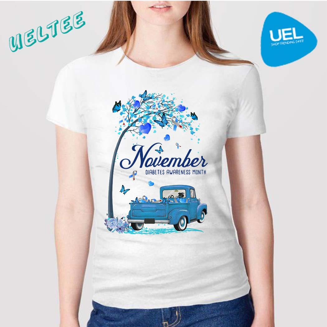 November Diabetes month blue truck shirt