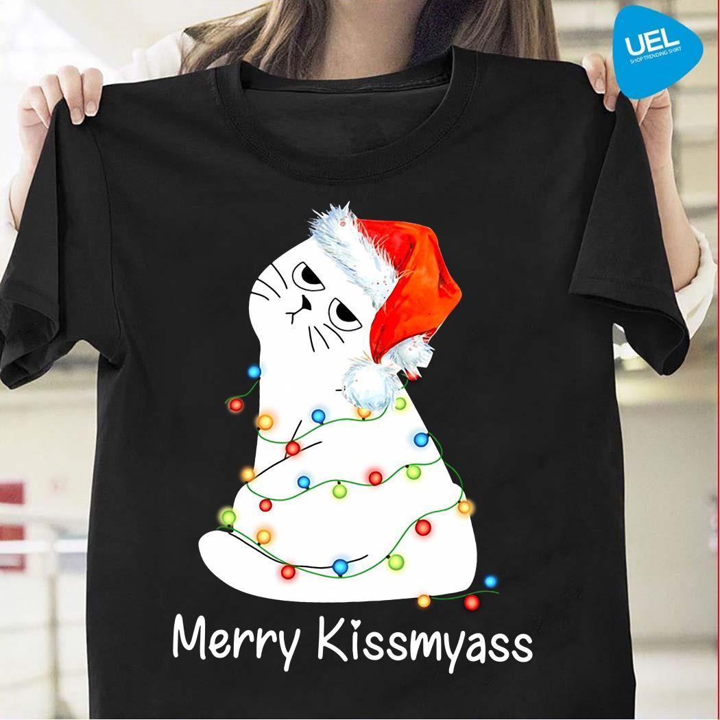 Cat Merry Kissmyass Christmas Shirt