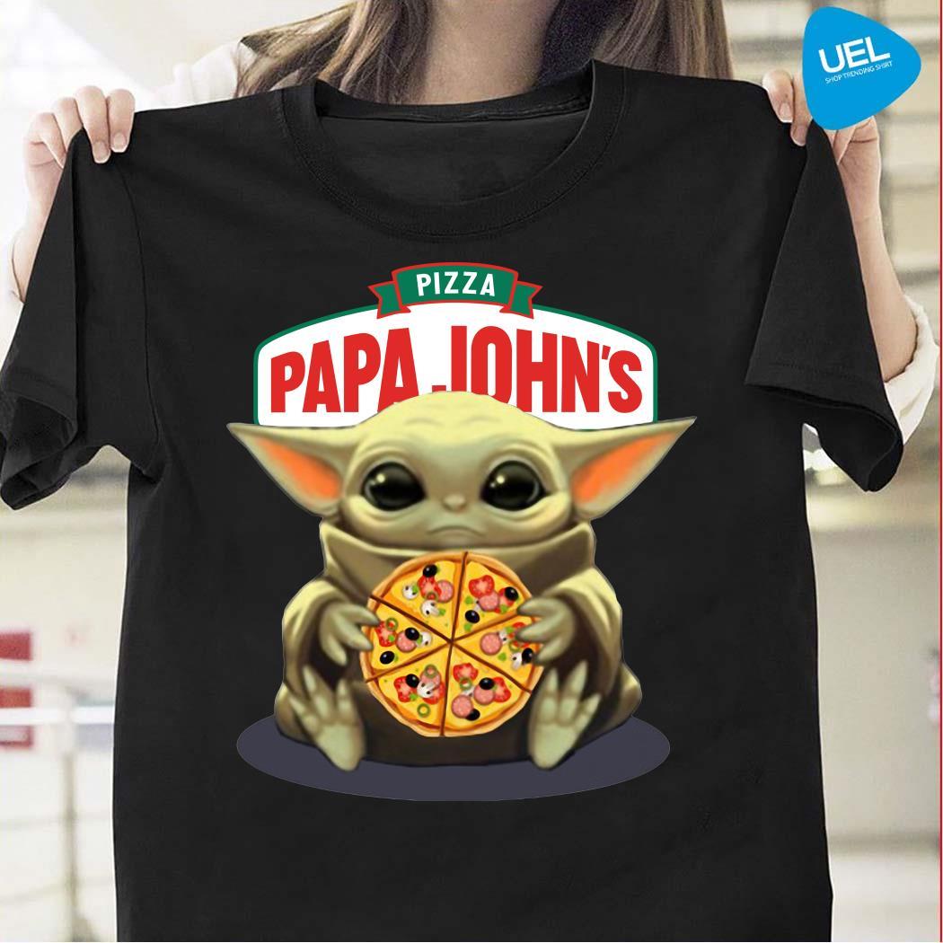 Baby Yoda Hug Pizza Papa John's Shirt
