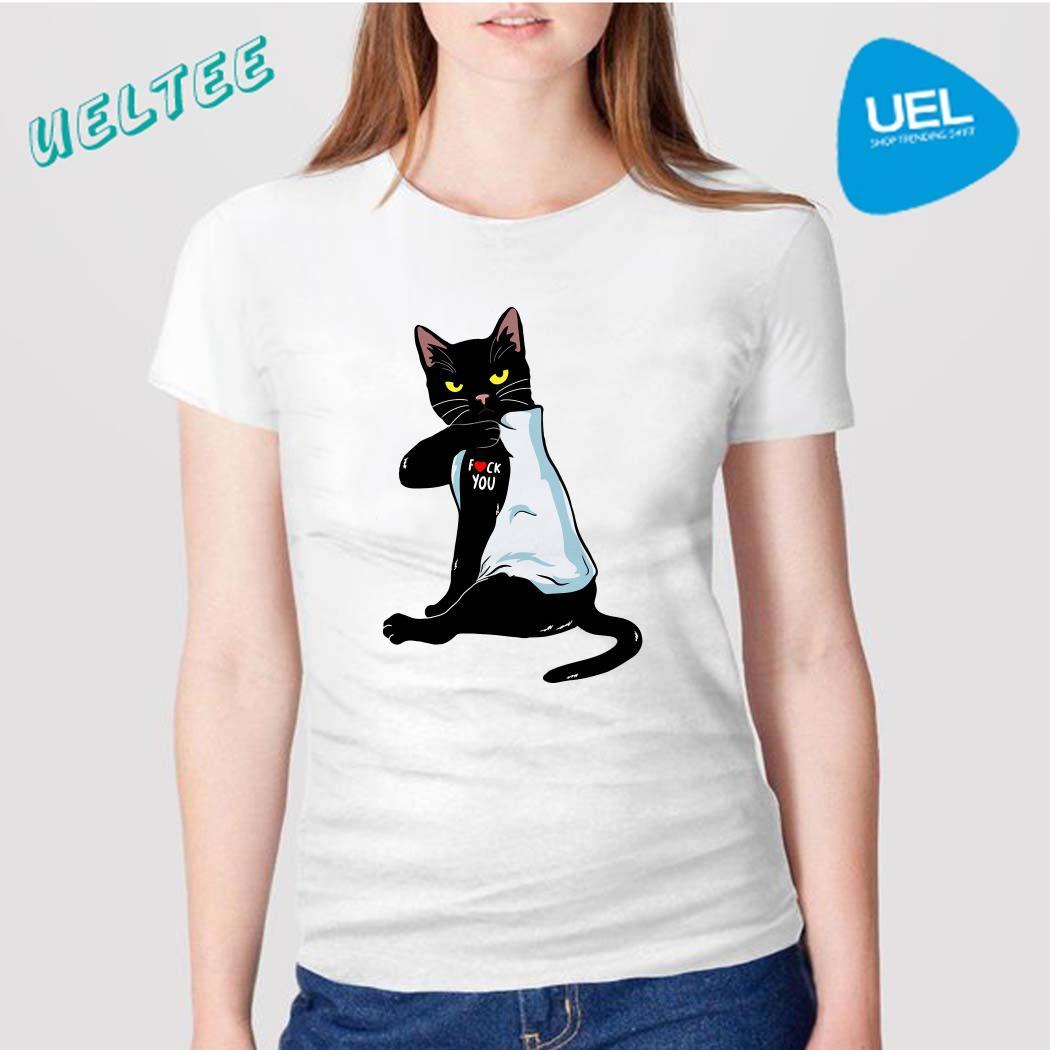 Black Cat Tattoos Fuck You Shirt