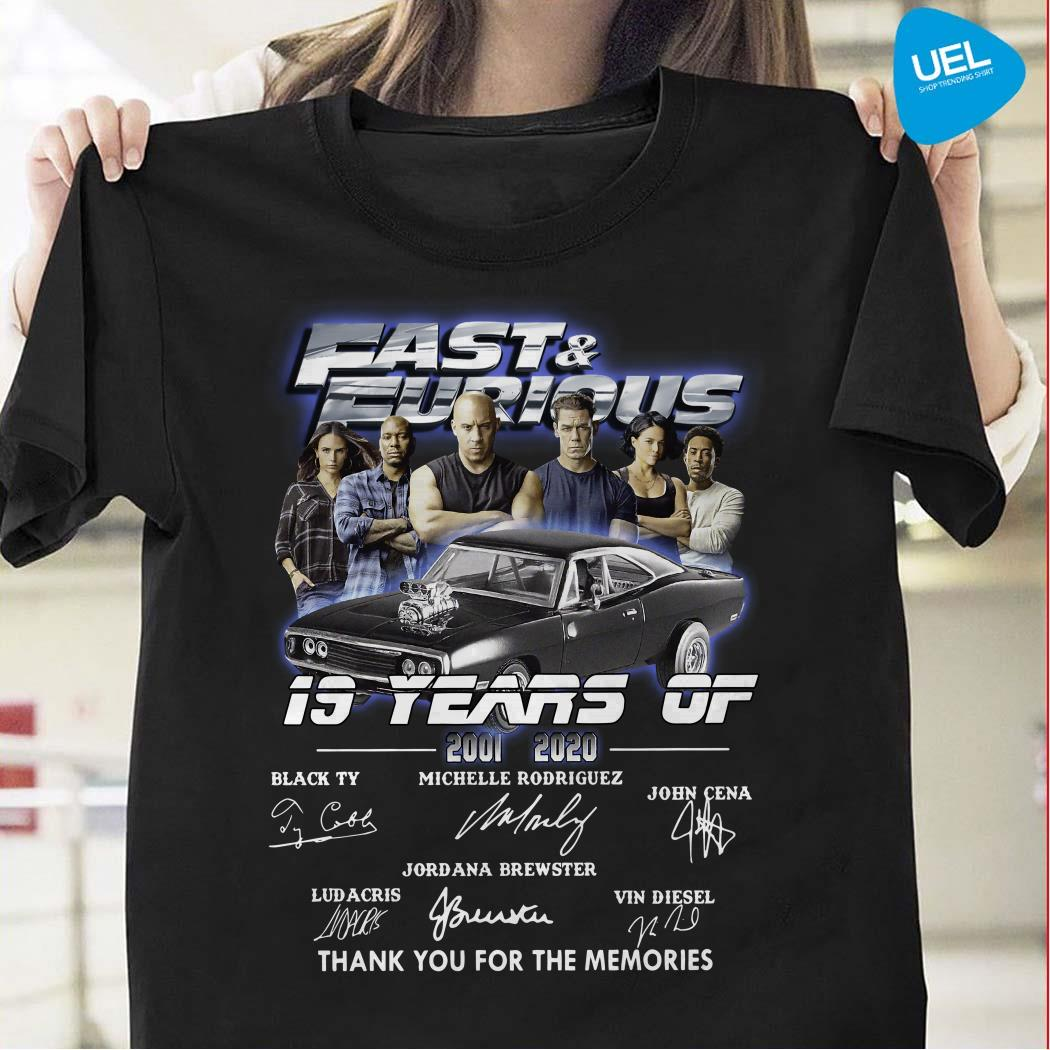 Fast And Furious 19 Years Of 2001 2020 Thank You For The Memories Shirt