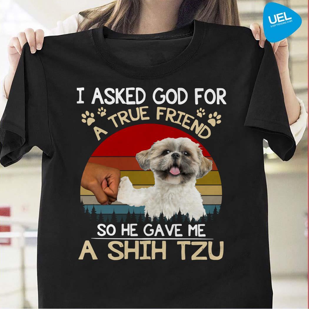 I Asked God For A True Friend So He Gave Me A Shih Tzu Vintage Shirt